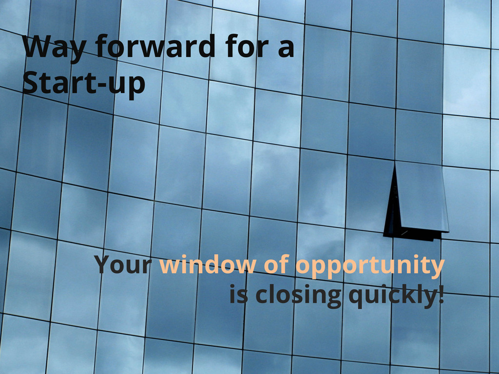 Way forward for a Start-up Your window of oppor...