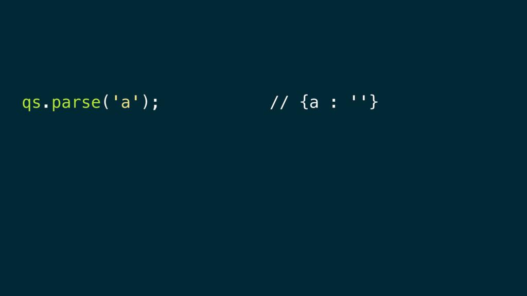 qs.parse('a'); // {a : ''}