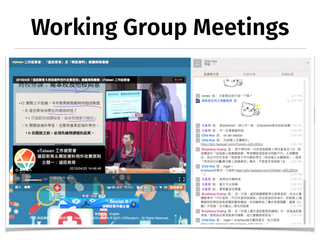 Working Group Meetings