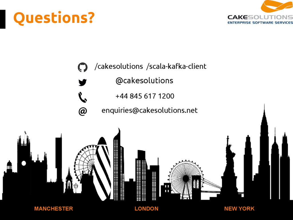 Questions? MANCHESTER LONDON NEW YORK /cakesolu...