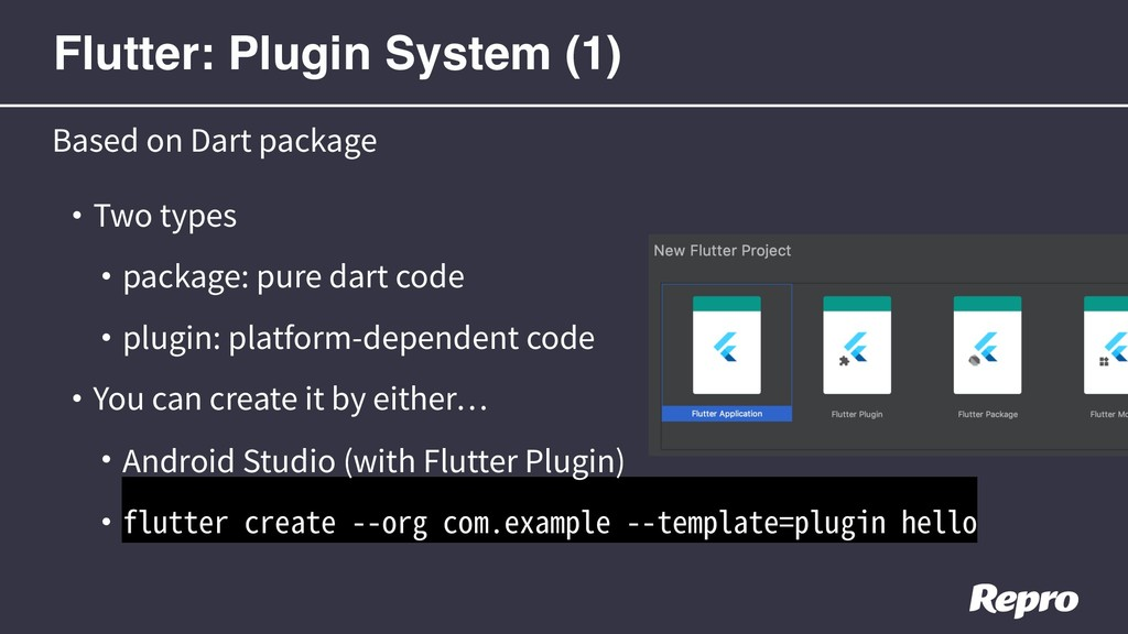 • Two types • package: pure dart code • plugin:...