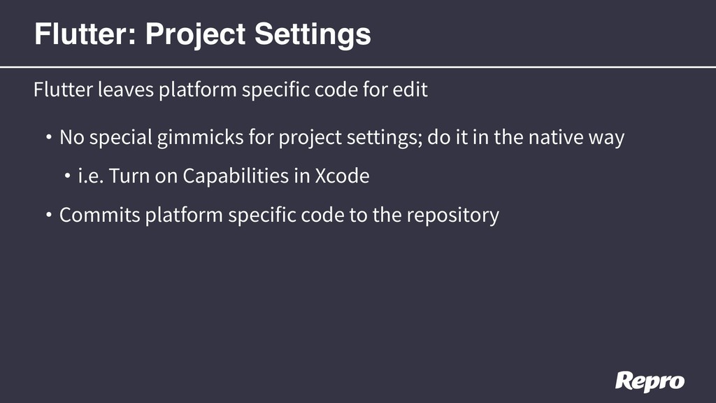 • No special gimmicks for project settings; do ...