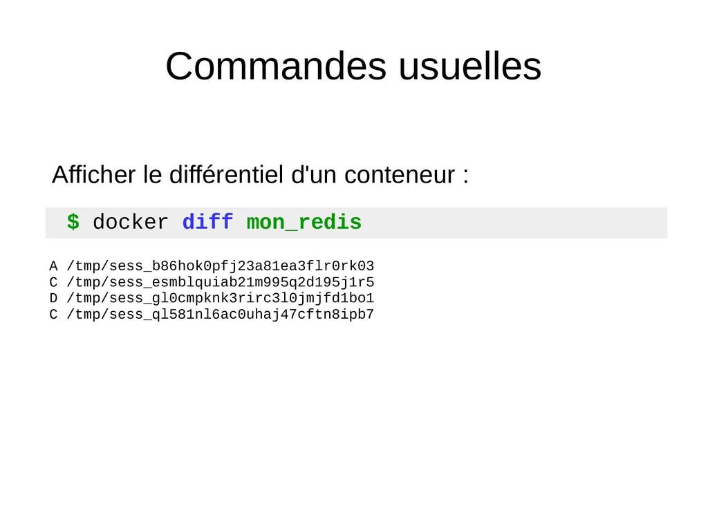Commandes usuelles $ docker diff mon_redis A /t...