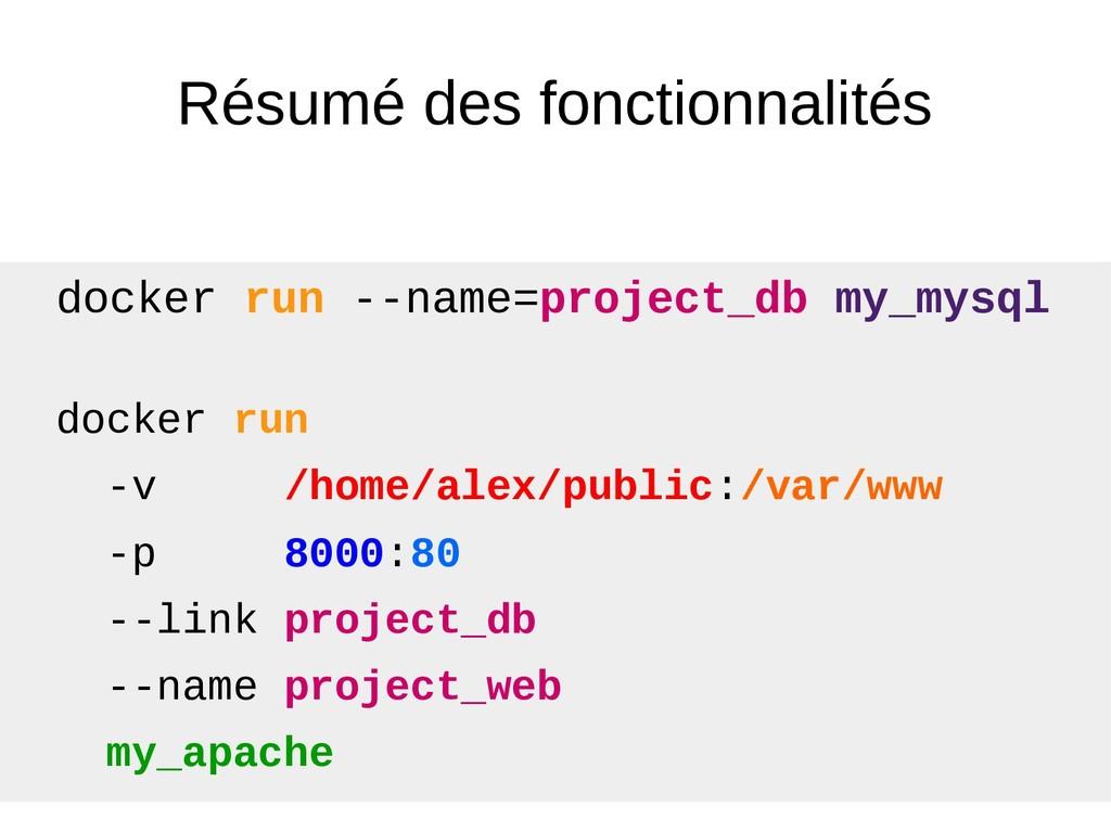 Résumé des fonctionnalités docker run -v /home/...