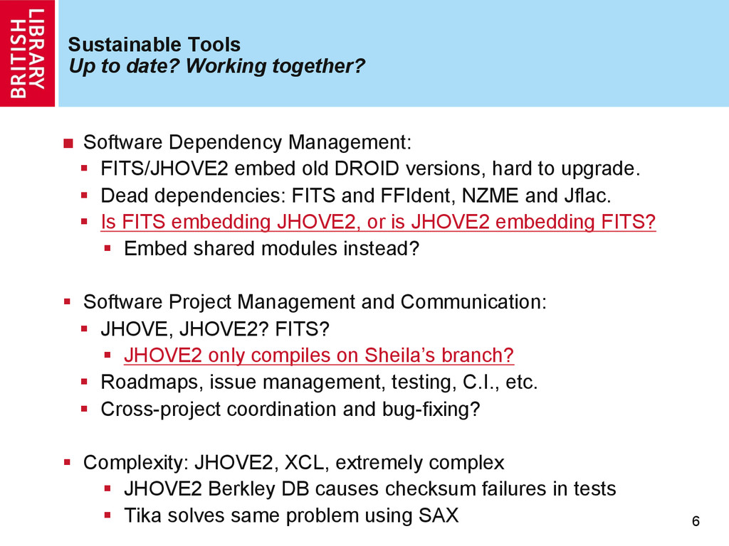 Sustainable Tools Up to date? Working together?...