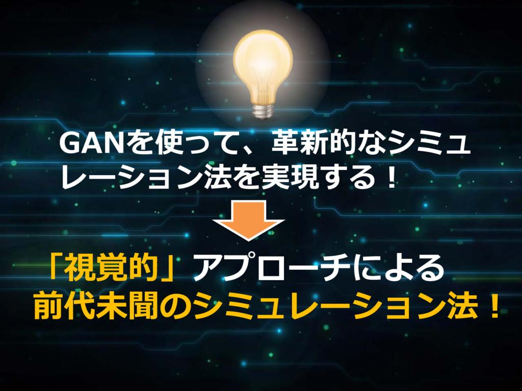 GANを使って、革新的なシミュ レーション法を実現する! 「視覚的」アプローチによる 前代未聞...