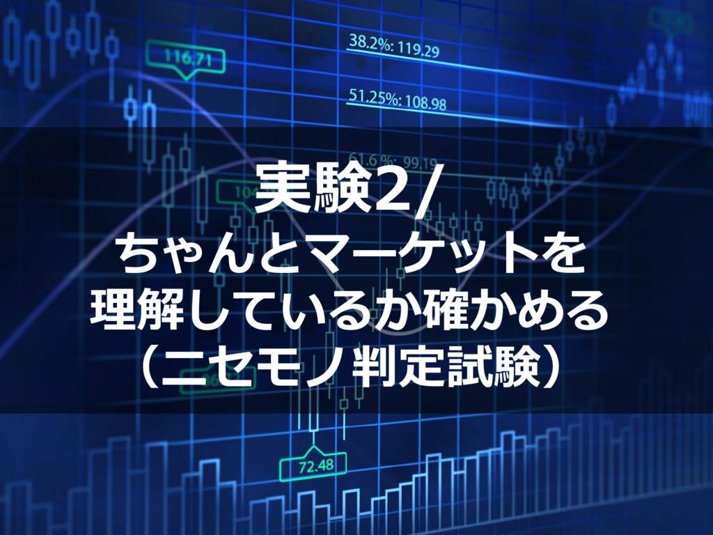 実験2/ ちゃんとマーケットを 理解しているか確かめる (ニセモノ判定試験)