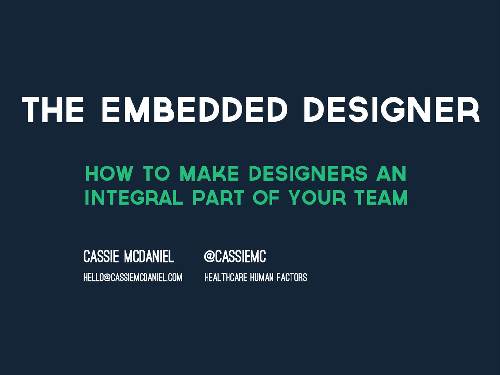 THE EMBEDDED DESIGNER how to make designers an ...