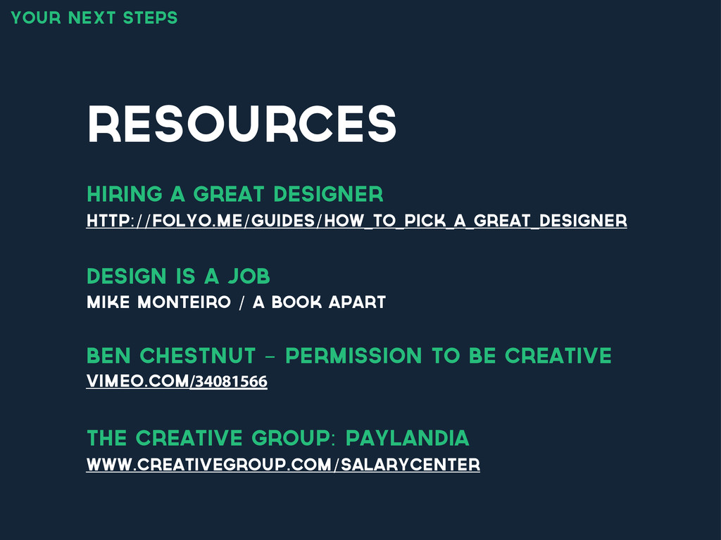 resources your next steps http://folyo.me/guide...
