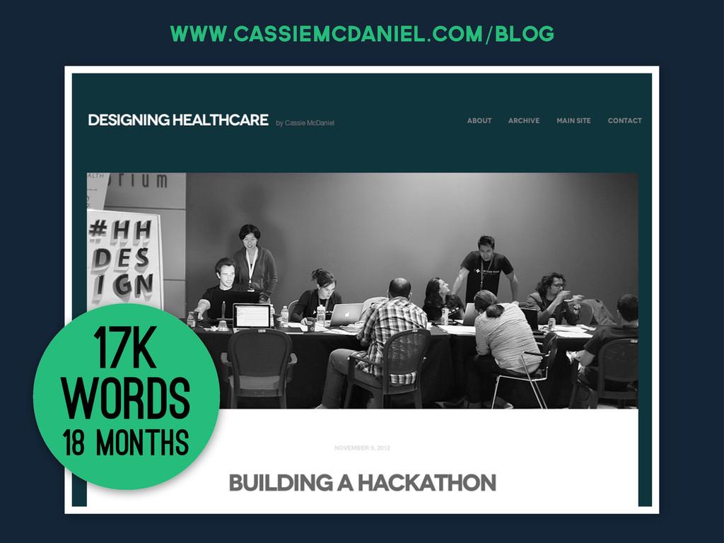 www.cassiemcdaniel.com/blog 18 months 17k words