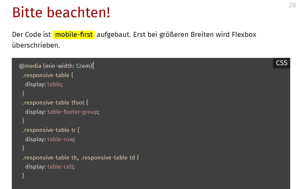 Bitte beachten! Der Code ist mobile- rst aufgeb...