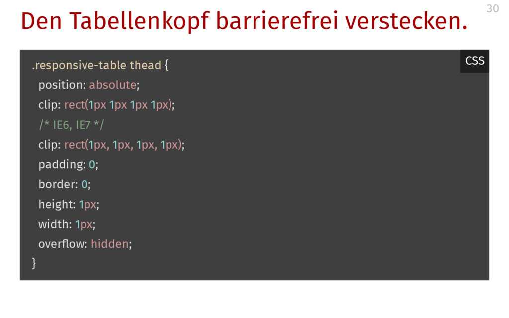 Den Tabellenkopf barrierefrei verstecken. .resp...