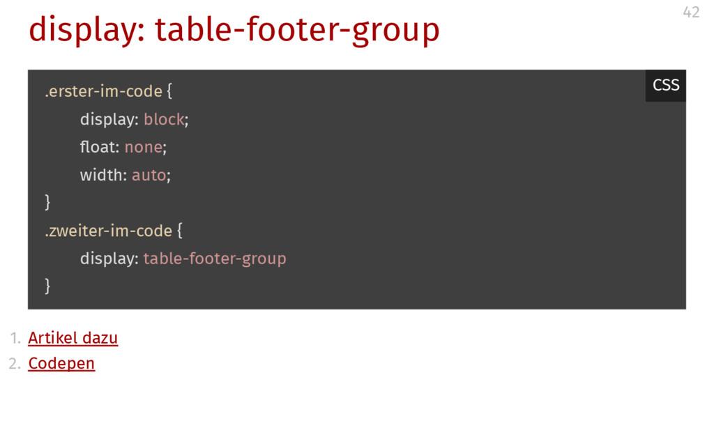 display: table-footer-group 1. Artikel dazu 2. ...