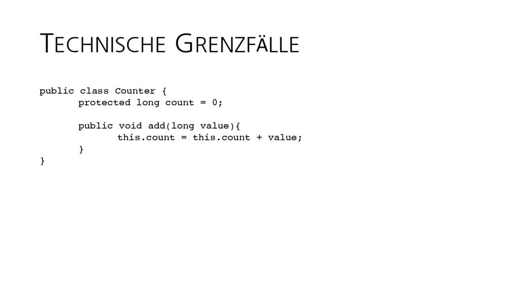 TECHNISCHE GRENZFÄLLE public class Counter { pr...