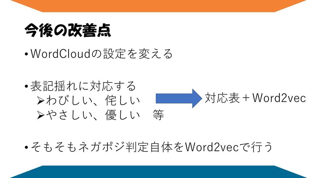 今後の改善点 • WordCloudの設定を変える • 表記揺れに対応する ➢わびしい、侘しい...