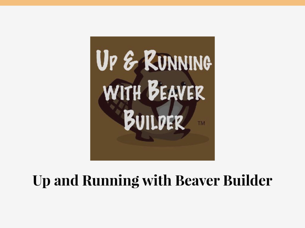 Up and Running with Beaver Builder