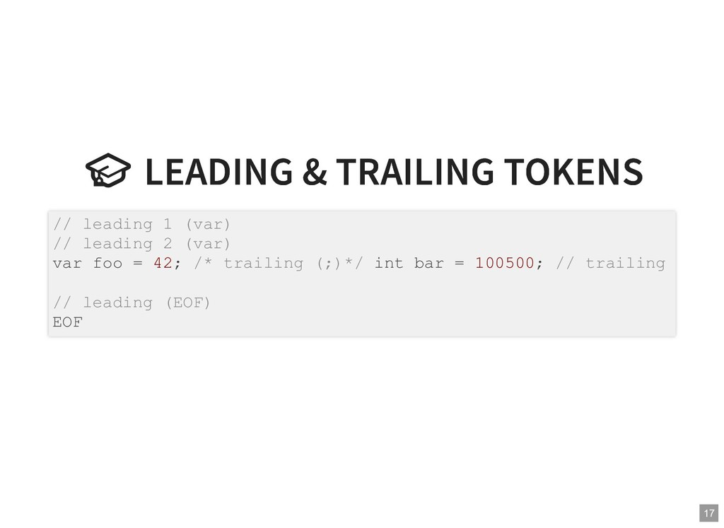 LEADING & TRAILING TOKENS  LEADING & TRAILING ...