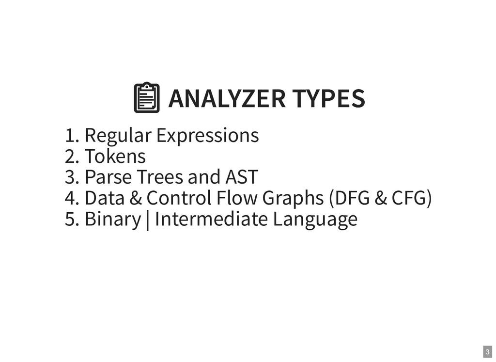ANALYZER TYPES  ANALYZER TYPES 1. Regular Expr...