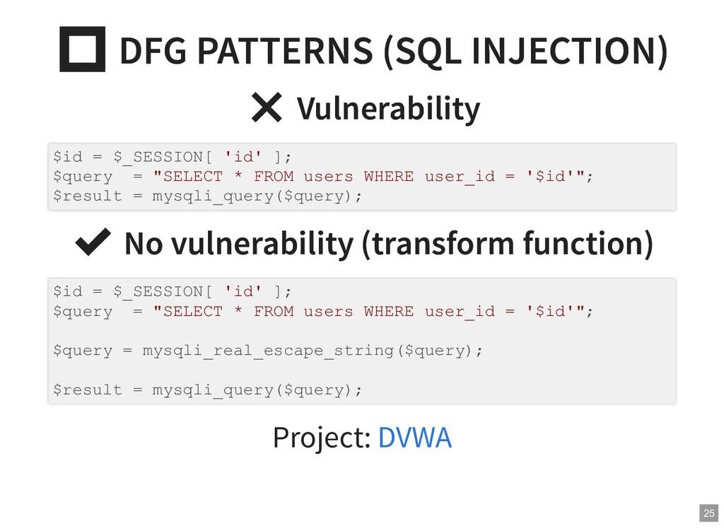 DFG PATTERNS (SQL INJECTION)  DFG PATTERNS (SQ...