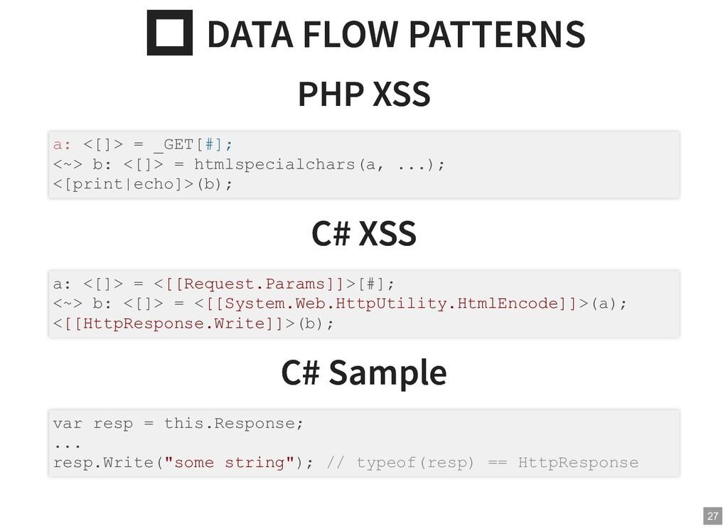 DATA FLOW PATTERNS  DATA FLOW PATTERNS PHP XSS...