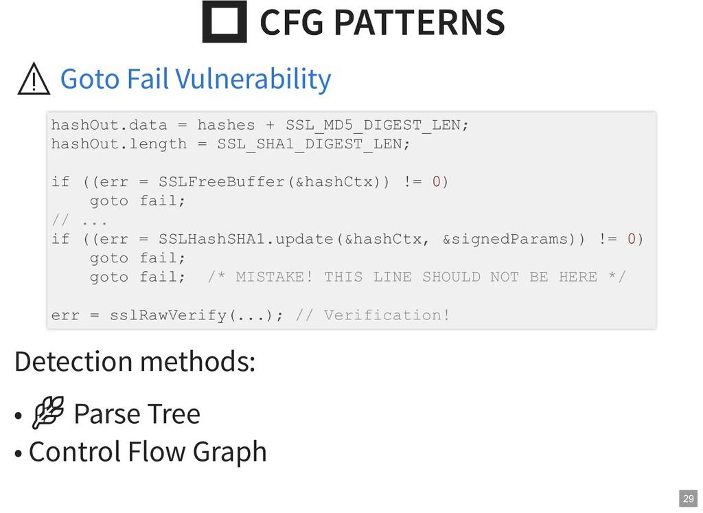 CFG PATTERNS  CFG PATTERNS ⚠ Detection methods...