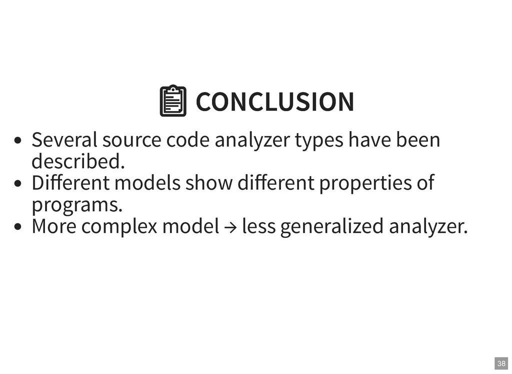 CONCLUSION  CONCLUSION Several source code ana...