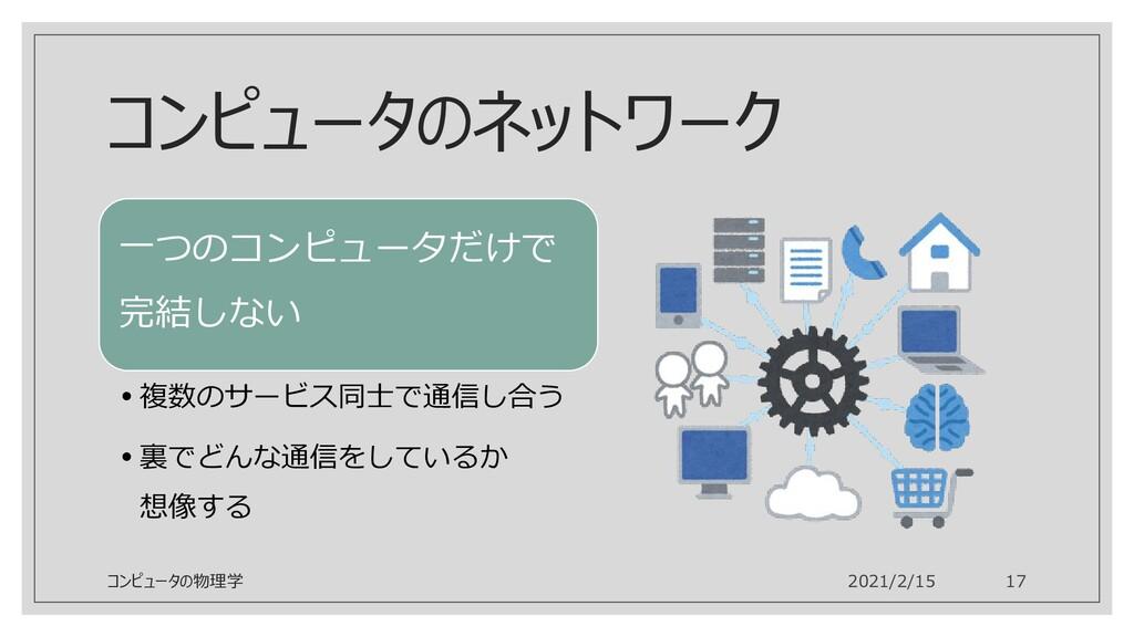コンピュータのネットワーク 一つのコンピュータだけで 完結しない •複数のサービス同士で通信し...