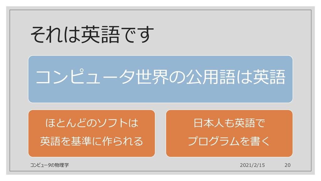 それは英語です コンピュータ世界の公用語は英語 ほとんどのソフトは 英語を基準に作られる 日本...