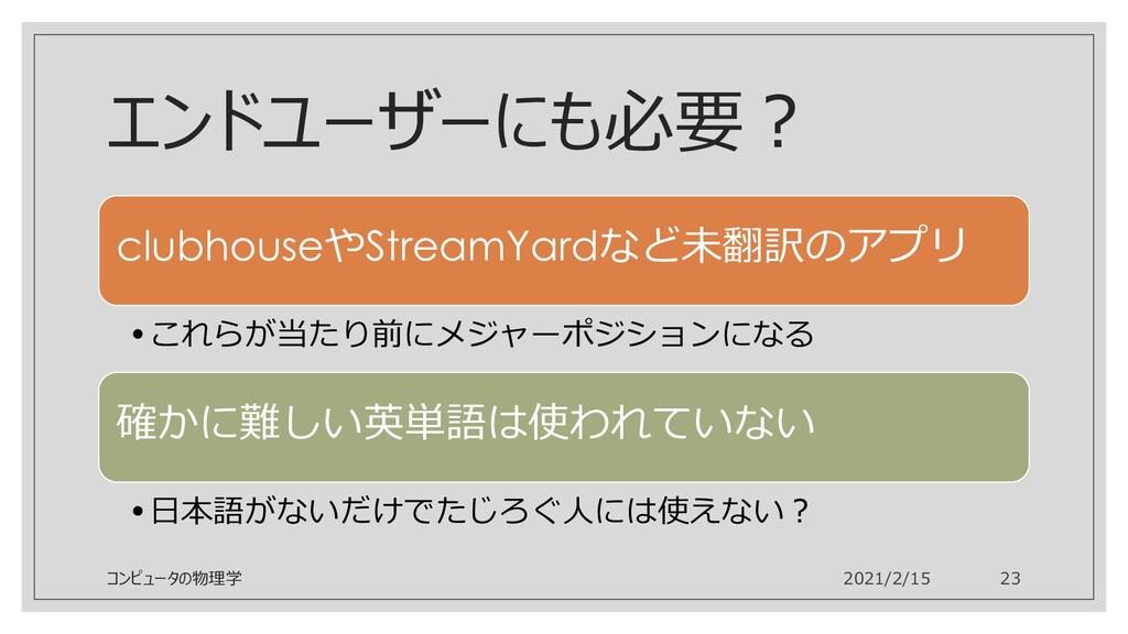 エンドユーザーにも必要? clubhouseやStreamYardなど未翻訳のアプリ •これら...