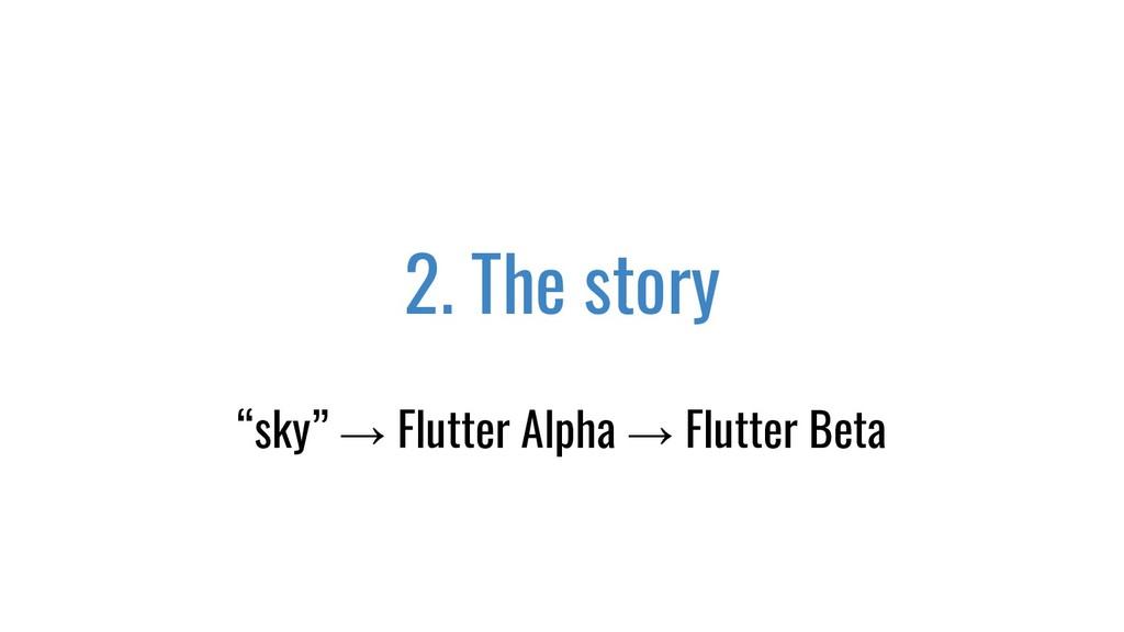 "2. The story ""sky"" → Flutter Alpha → Flutter Be..."