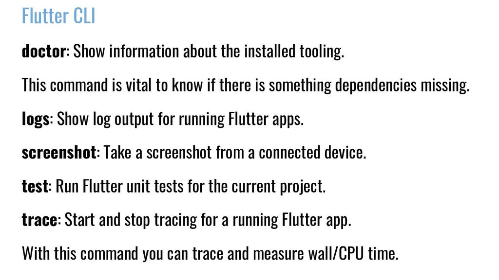 Flutter CLI doctor: Show information about the ...