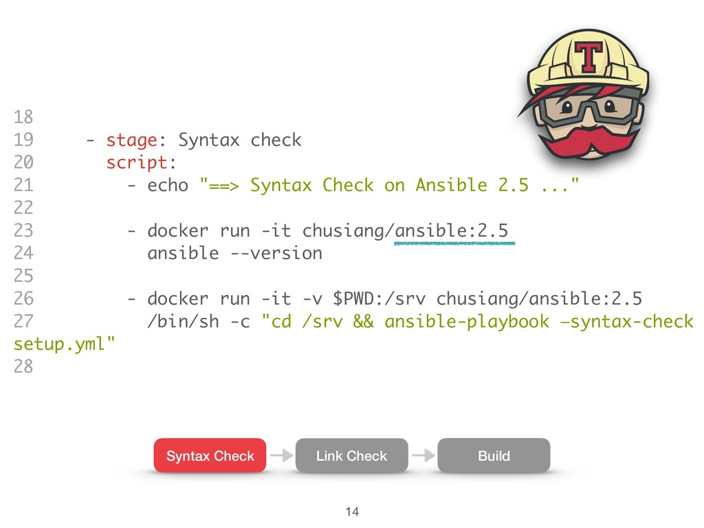 18 19 - stage: Syntax check 20 script: 21 - ech...