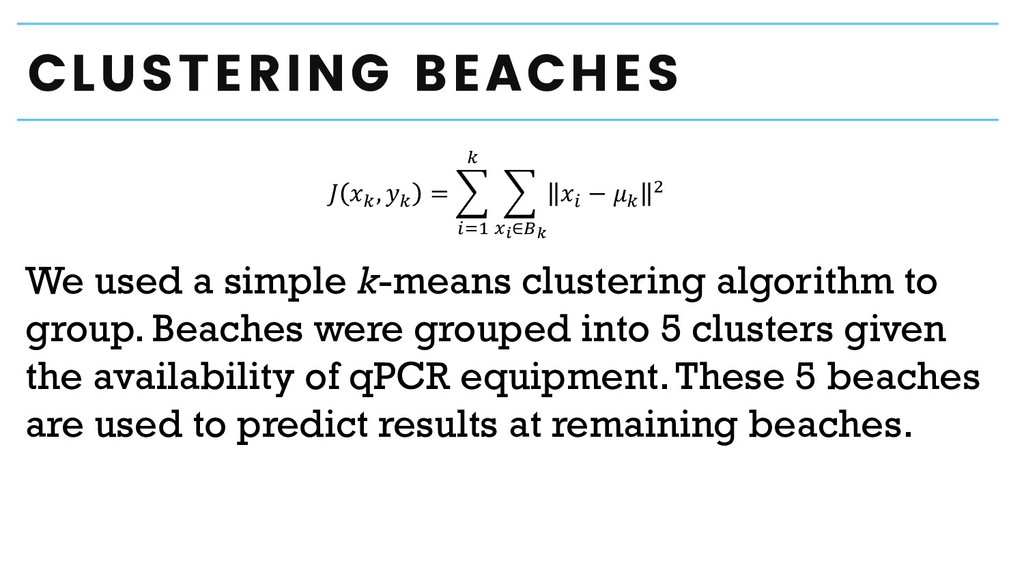 CLUSTERING BEACHES We used a simple k-means clu...