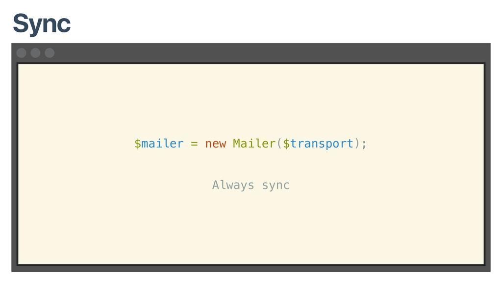 $mailer = new Mailer($transport); Always sync S...