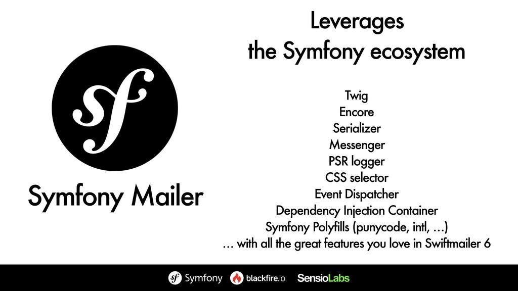 Leverages the Symfony ecosystem Twig Encore Se...