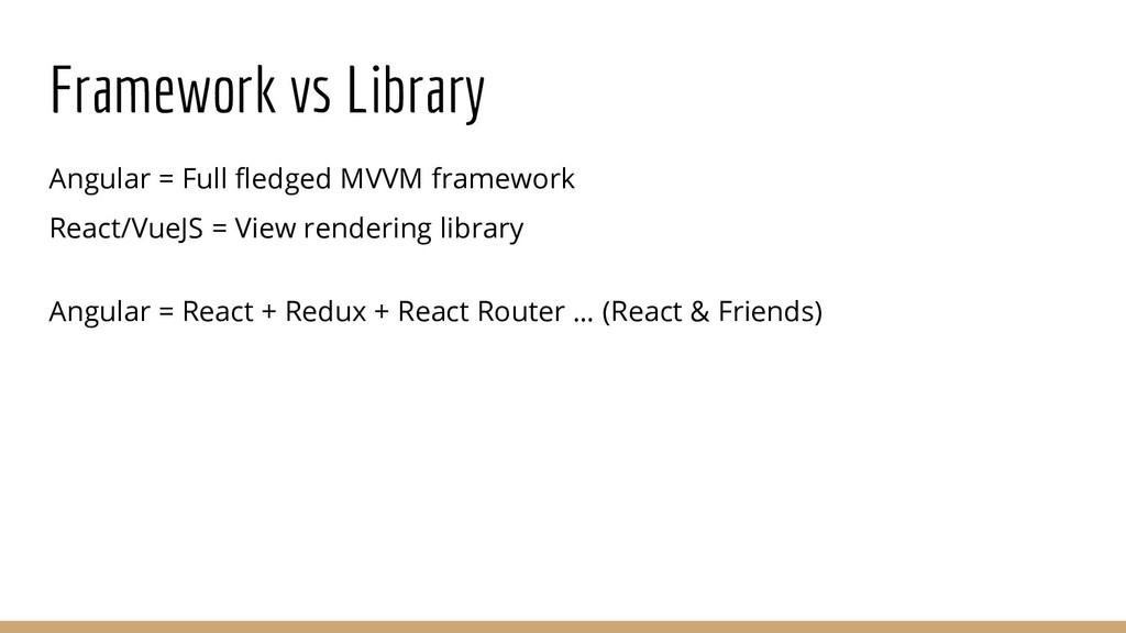 Framework vs Library Angular = Full fledged MVV...