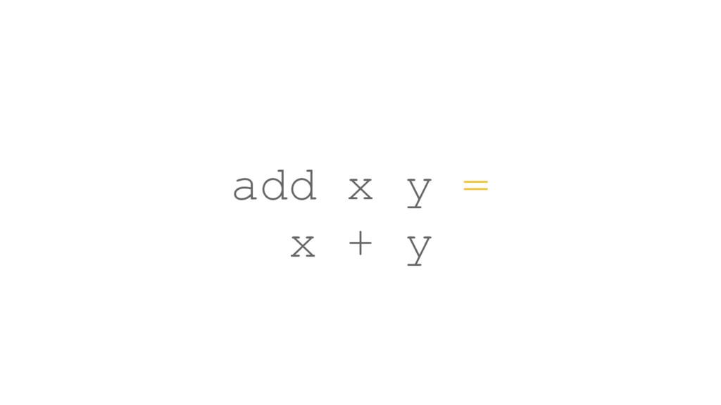 add x y = x + y