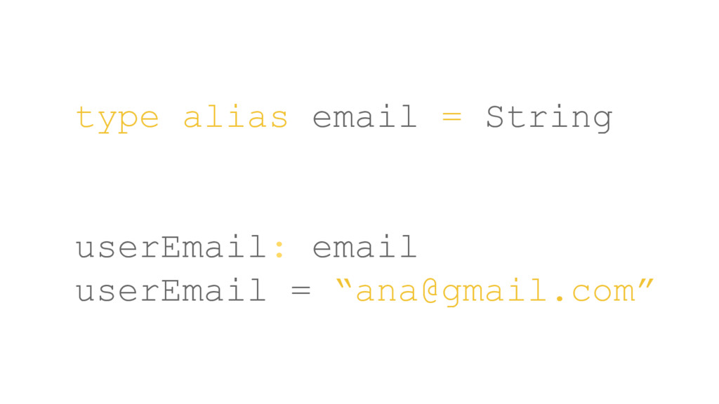 type alias email = String userEmail: email user...