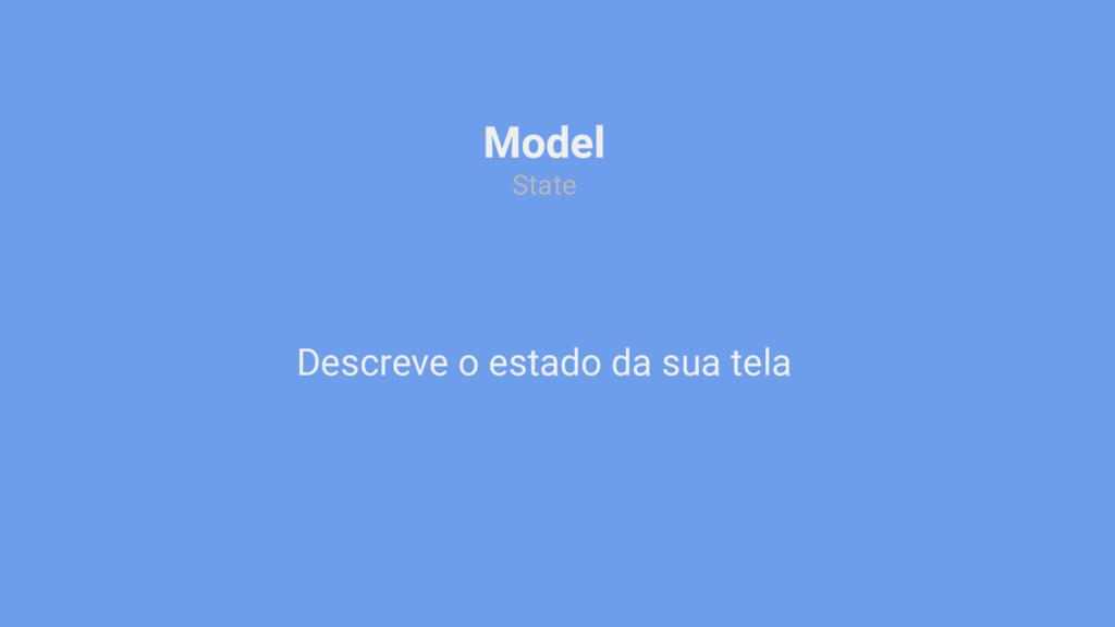Descreve o estado da sua tela Model State