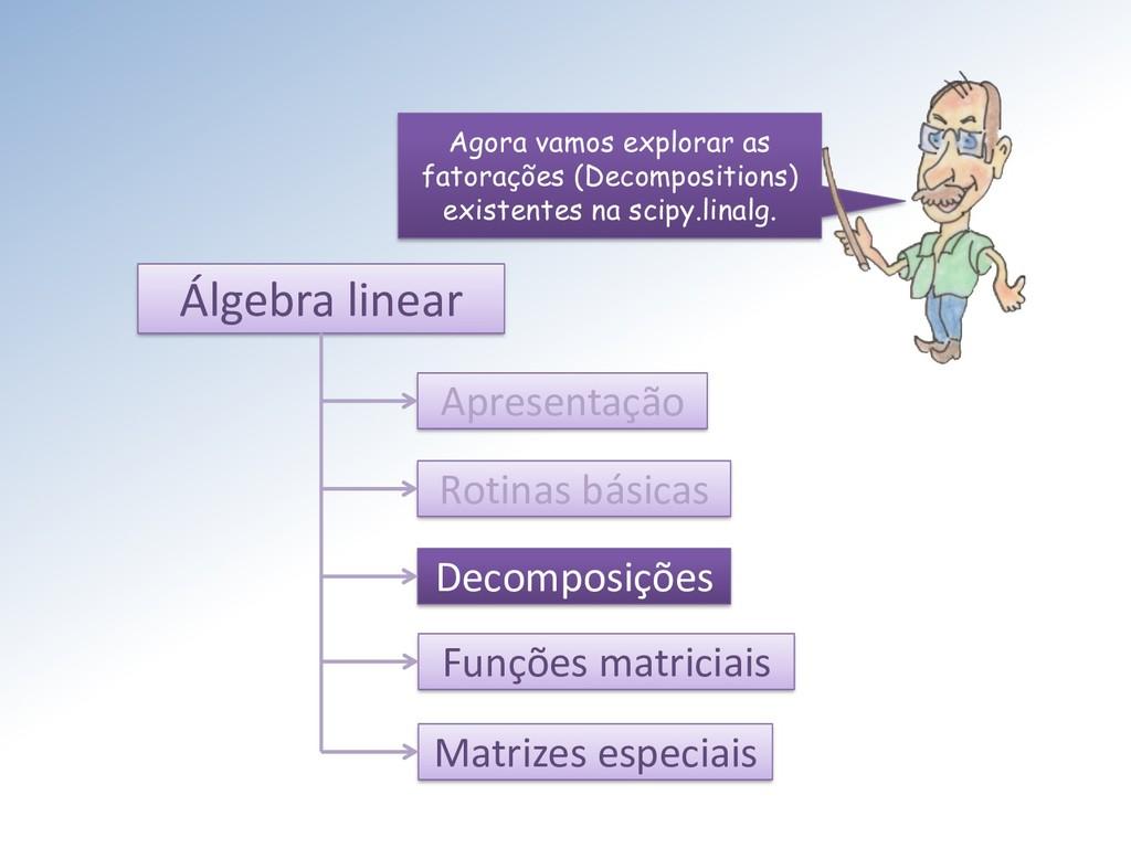 Álgebra linear Apresentação Rotinas básicas Dec...
