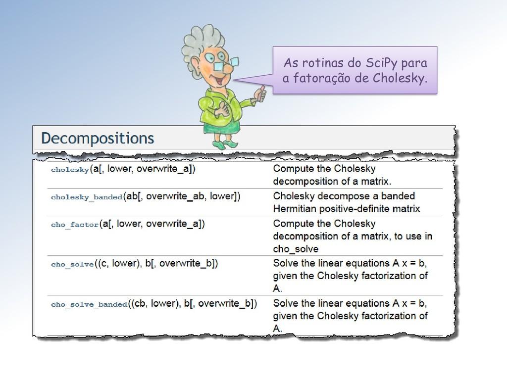 As rotinas do SciPy para a fatoração de Cholesk...