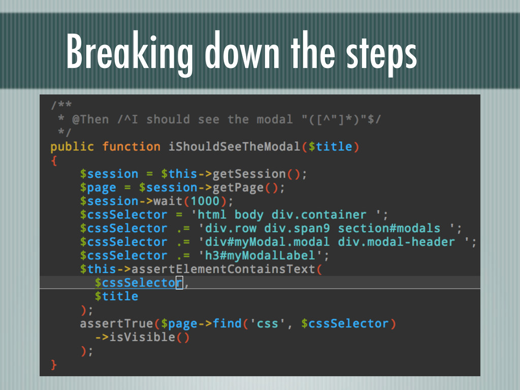 Breaking down the steps