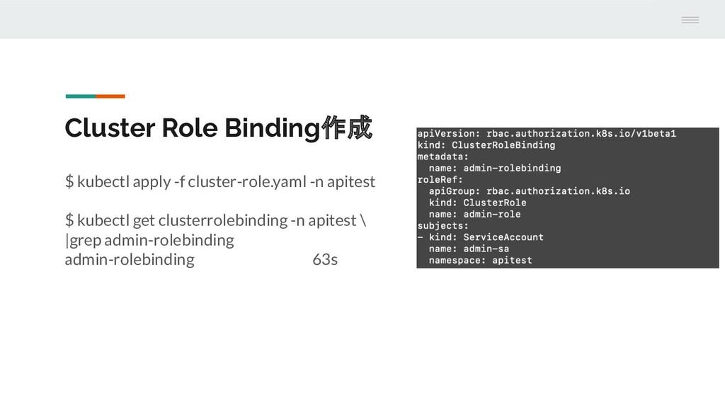 Cluster Role Binding作成 $ kubectl apply -f clust...