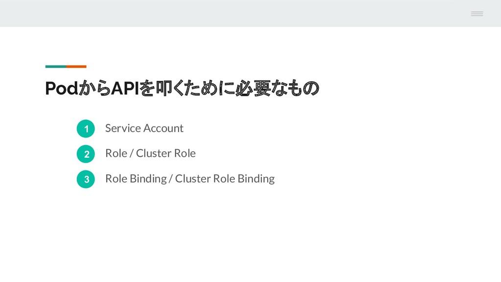 PodからAPIを叩くために必要なもの 1 Service Account 2 Role / ...