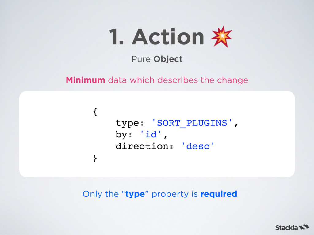 1. Action Pure Object { type: 'SORT_PLUGINS', b...