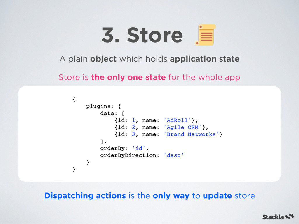 3. Store A plain object which holds application...