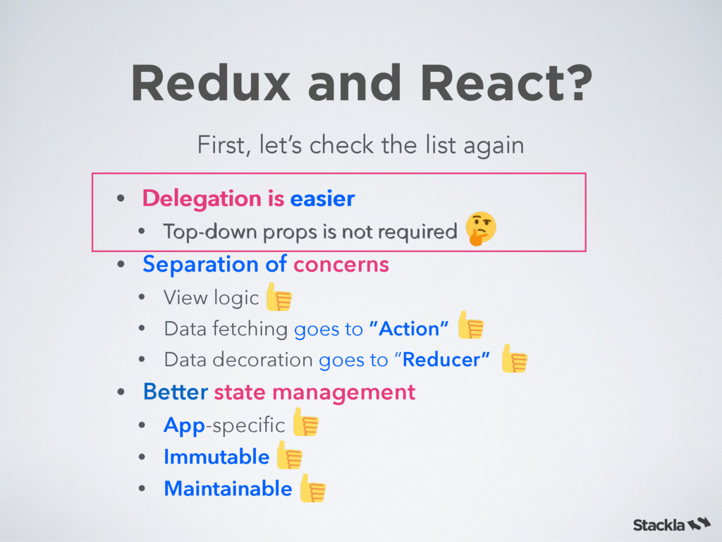 Redux and React? First, let's check the list ag...