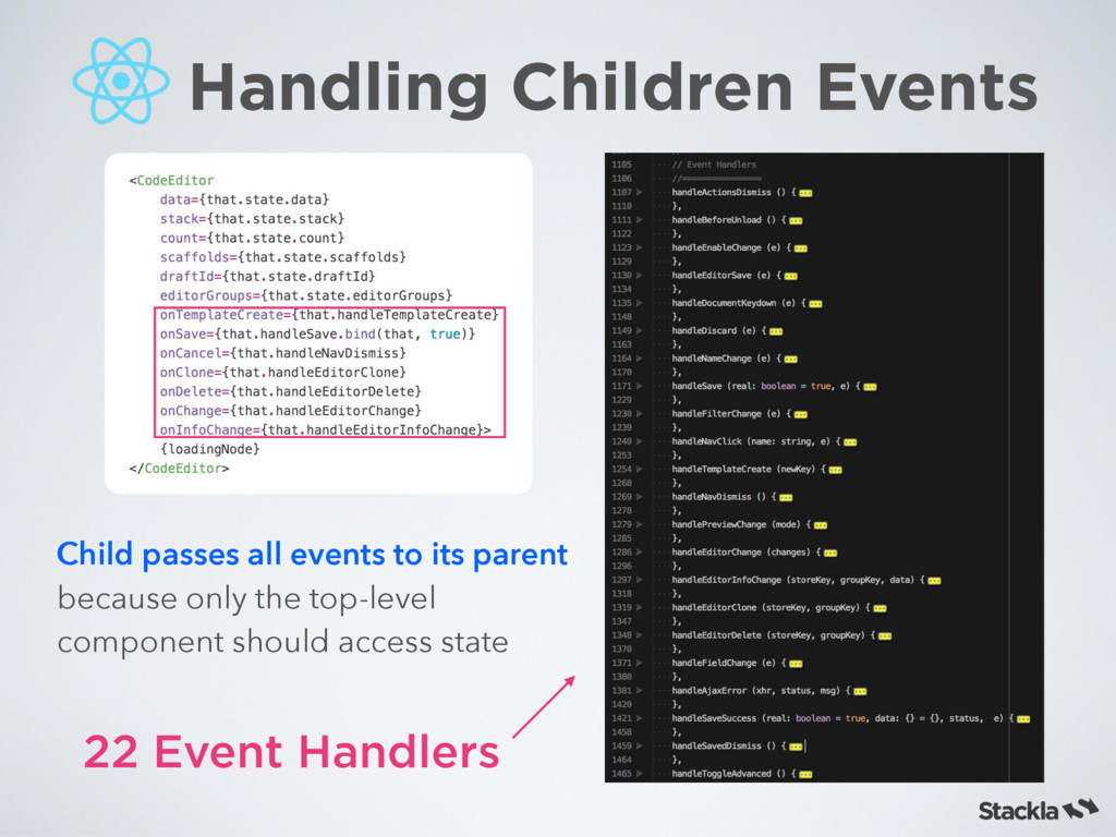 22 Event Handlers Child passes all events to it...