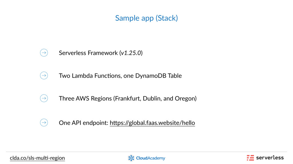 Sample app (Stack) clda.co/sls-mul,-region Serv...