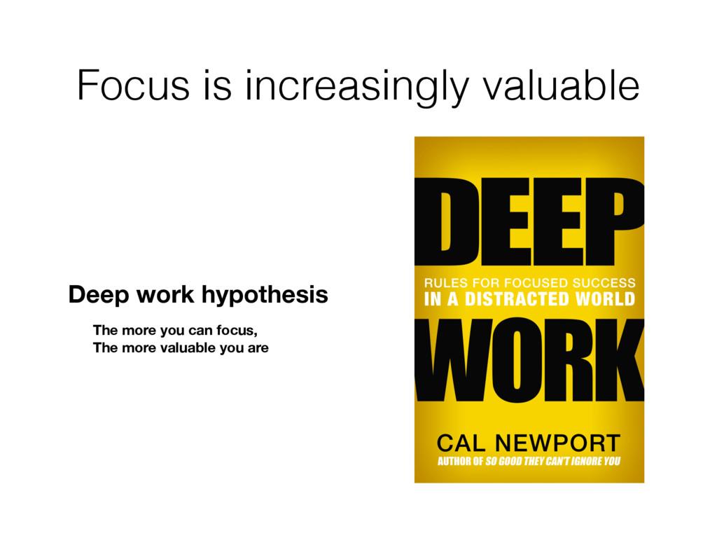 Focus is increasingly valuable Deep work hypoth...